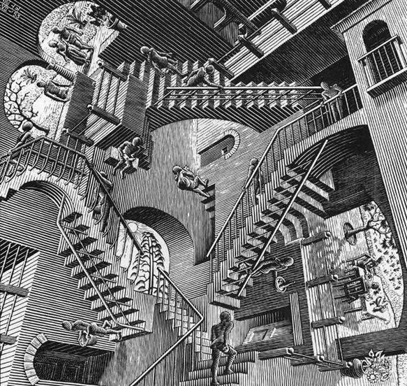 Relativity<br />July 1953<br />Woodcut<br />28.2x29.4cm
