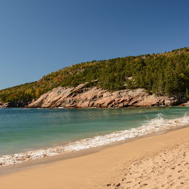 Waves on Sand Beach by Robert Coffey - Landscapes Beaches ( park, national, waves, acadia, trees, forest, ocean, beach, atlantic, rocks )