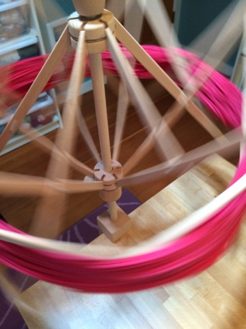 yarn, winding, swift, ball, pink, hank,
