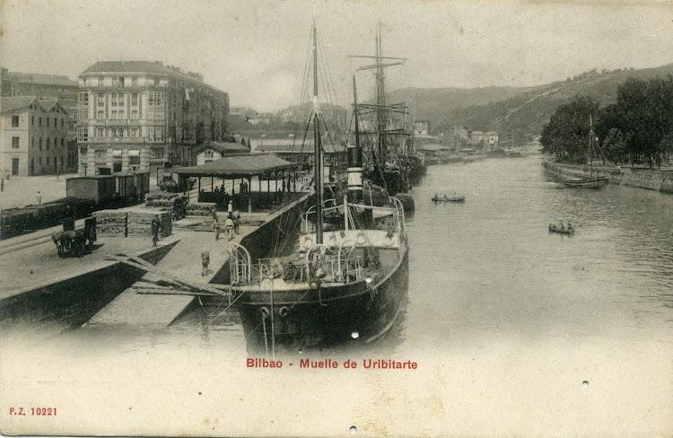 Probablemente se trata del vapor KATALIÑ en Bilbao. Noviembre de 1907. Rampa de Uribitarte. Postal.jpg
