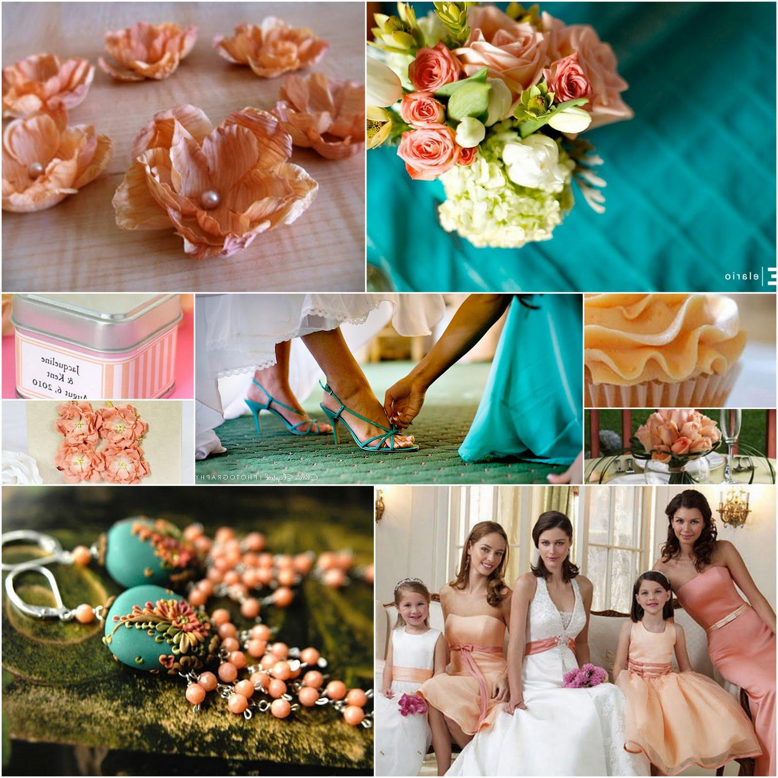 peach and teal wedding