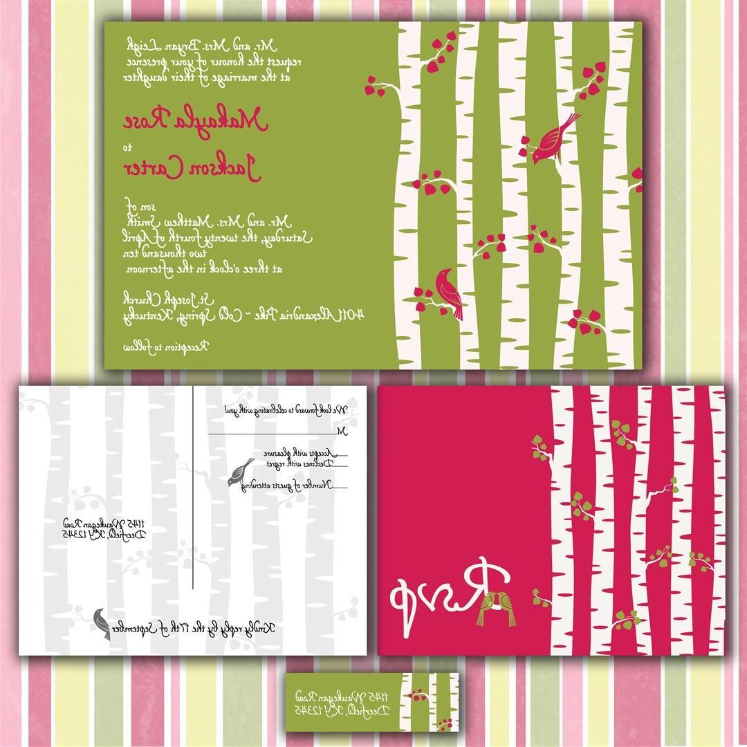 Birch Tree Forest Custom Wedding Invitation Suite with RSVP postcards and