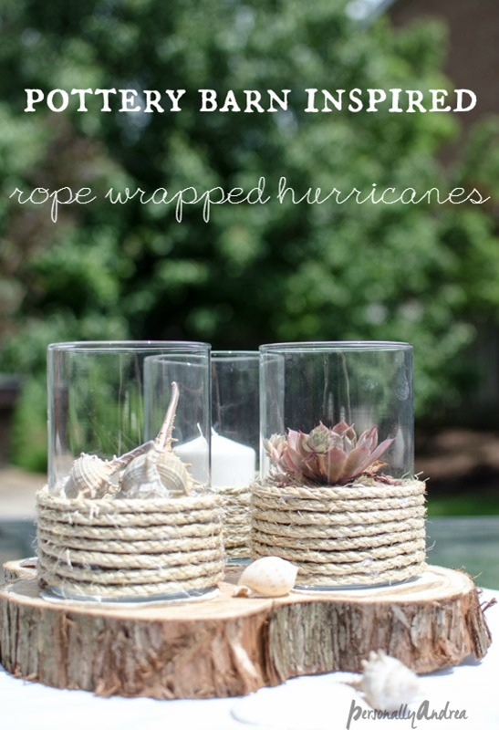 Pottery Barn Inspired Rope Hurricanes