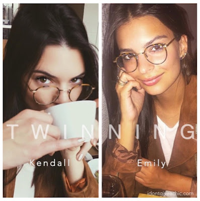 Kendall Jenner and Emily Ratajkowski Twinning Doppelganger in Garrett Leight Round Turtoise Frame Glassed and Suede Jacketl