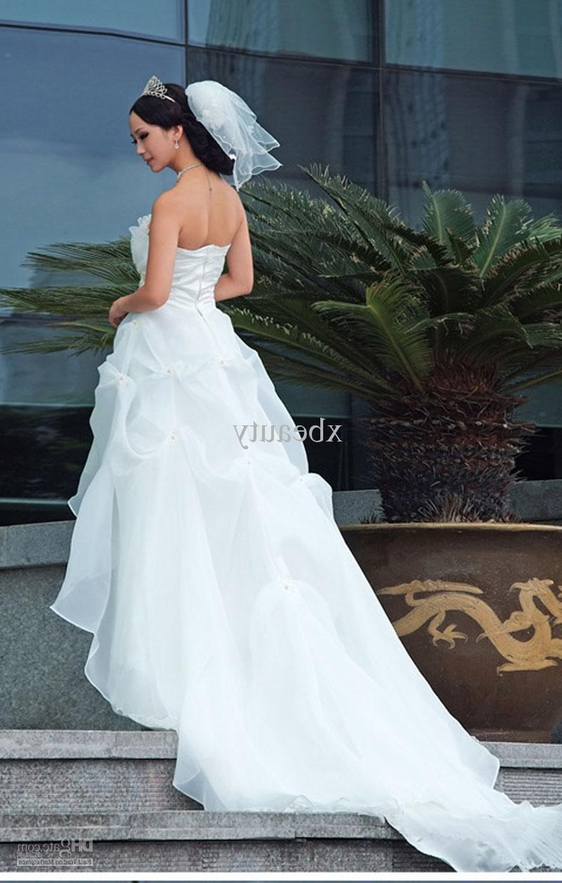 Strapless A-line Hippie Tulle Ruffle Train Wedding Gown wedd.