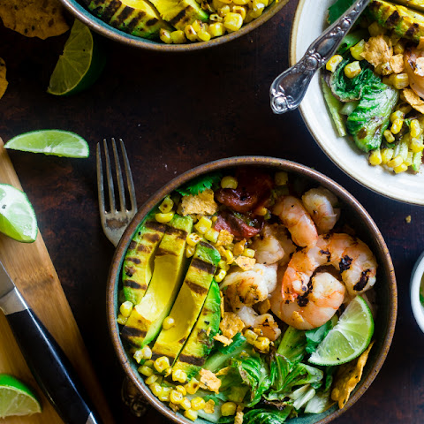 Honey Lime Grilled Avocado Shrimp Nacho Bowls