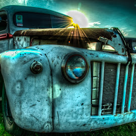 Old Sunshine by Chris Cavallo - Transportation Automobiles ( maine, automobile, car show, rusty, rust, old truck, antique, decay )