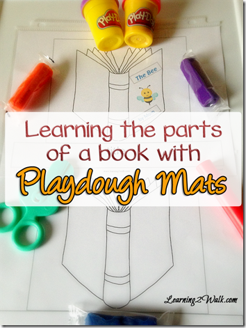 FREE Learn the Parts of a Book Playdough mat! What a fun, clever idea for Toddler, Preschool, Kindergarten, 1st grade, 2nd grade, and 3rd grade students.