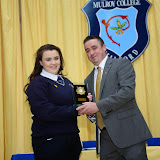 Niamh Boyle Collects her Student of the Year Trophy from Gerad Grant at the Mulroy College Senior Prize Giving.  Photo:- Clive Wasson