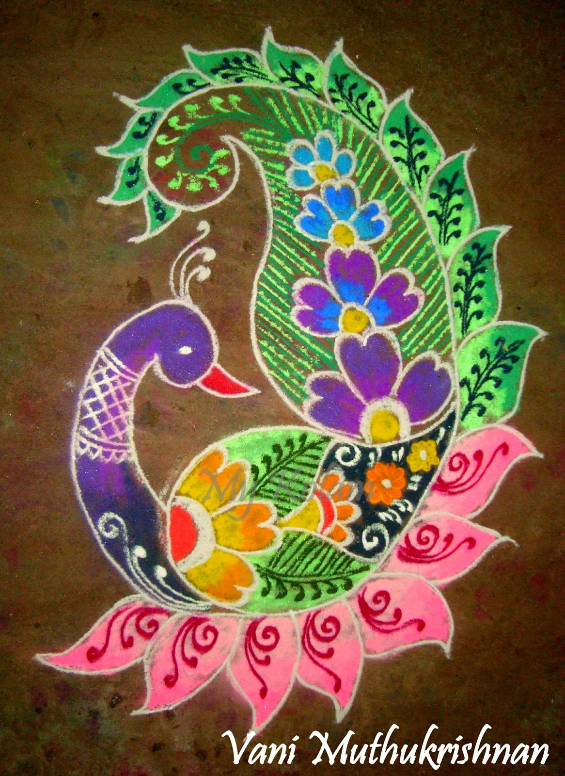my kolam pretty peacock