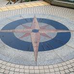compass on the street in Yokohama, Tokyo, Japan