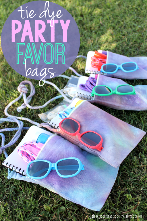 tie dye party favor bags at GingerSnapCrafts.com