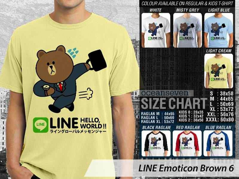 KAOS IT LINE Emoticon Brown 6 Social Media Chating distro ocean seven