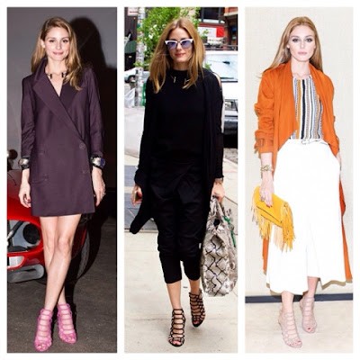 Olivia Palermo in Schutz Juliana Caged Sandals