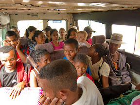 "We're all piled into the ""taxi brousse"" to go as far as the road will take us (a town called ""Ampasimbe"") before hiking the rest of the way to the village."