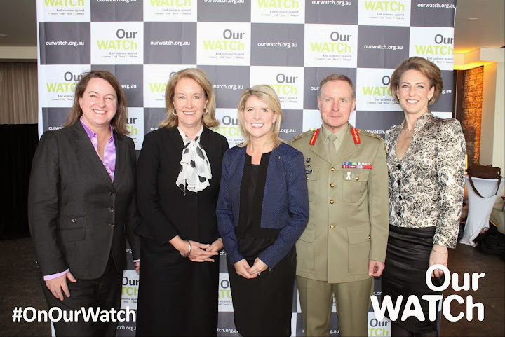 With Natasha Stott Despoja and Michaelia cash at the Our Watch campaign launch