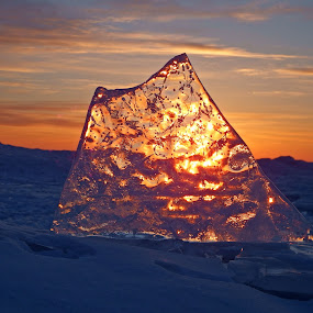 Solid Gold by Alison Gimpel - Landscapes Weather ( duluth, beaches, minnesota, winter, ice, lake superior, sunrise, #GARYFONGDRAMATICLIGHT, #WTFBOBDAVIS )