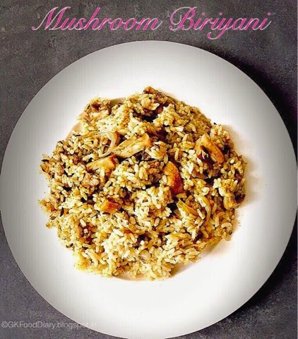 Mushroom Biryani South Indian Style
