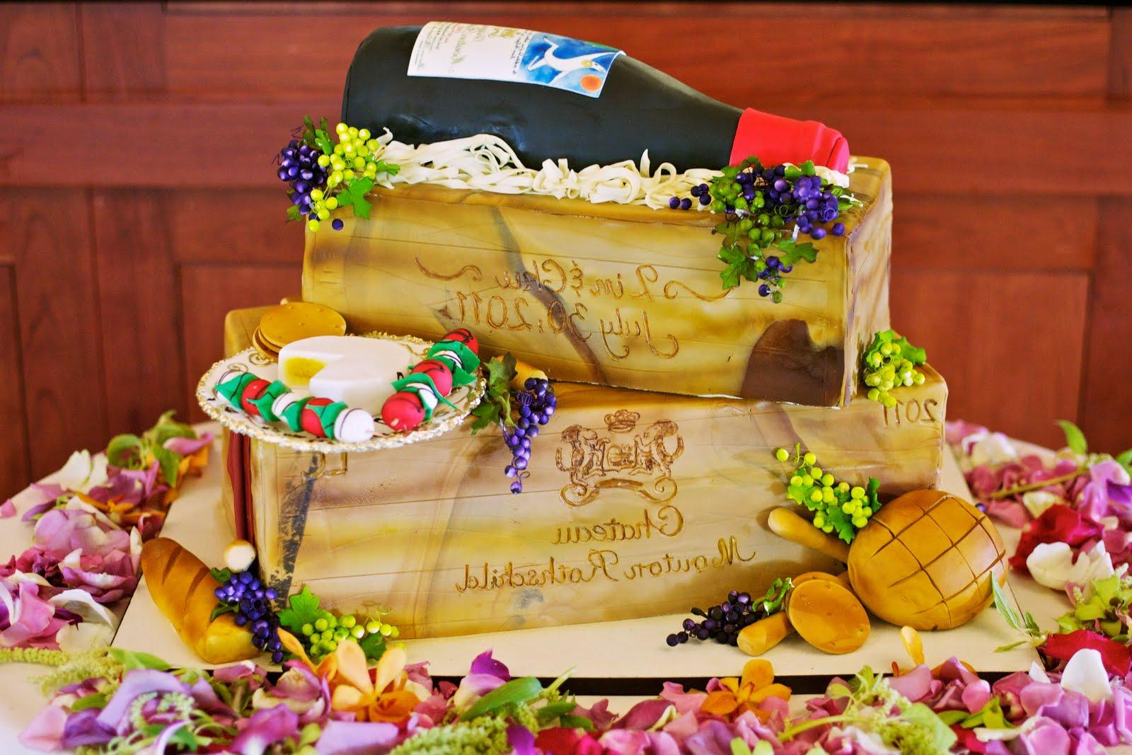 Wine Theme Wedding Cake
