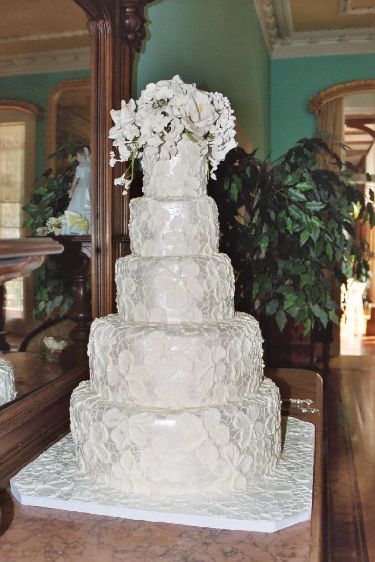 Five Tier Brocade Wedding Cake