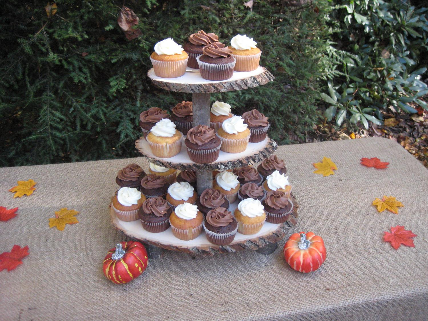 Cupcake Stand Rustic Wedding Wood Dessert Bar 3 Tier. From YourDivineAffair