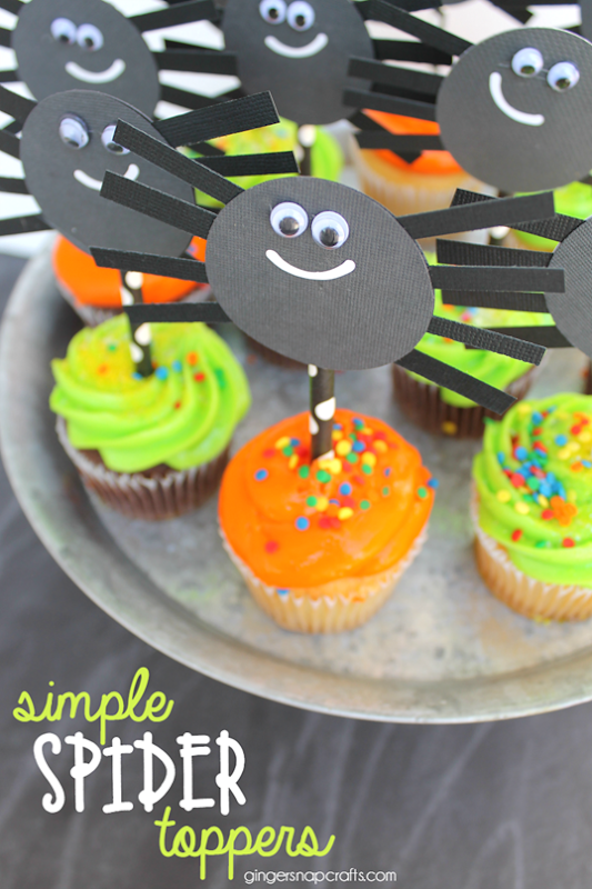 Simple Spider Toppers at GingerSnapCrafts.com #spiders #Halloween