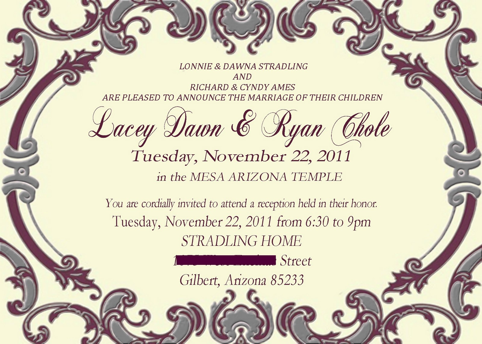 Laceys Wedding invitations