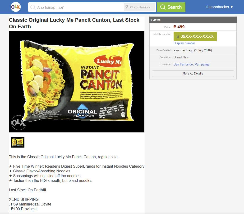 Image of The Last Surviving Classic Lucky Pancit Canton