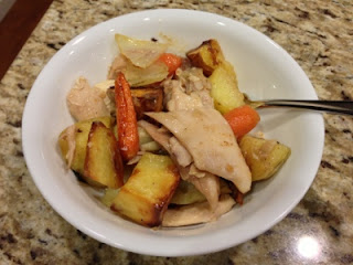 Sage & Bay Salt Roast Chicken with Potatoes & Carrots - Served