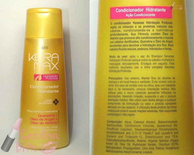condicionador hidratante skafe keramax hidrataçao profunda carga maxima de queratina oleo de argan absinto