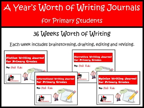 A Year's Worth of Writing Journals - Primary - fiction, informational, narrative and opinion writing for primary grades - Kindergarten, 1st grade, 2nd grade