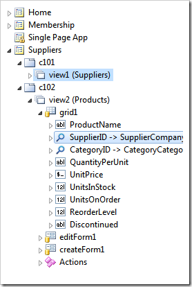 Establishing a master-detail relationship between the list of suppliers and the list of products in SPA page of an app created with Code On Time.
