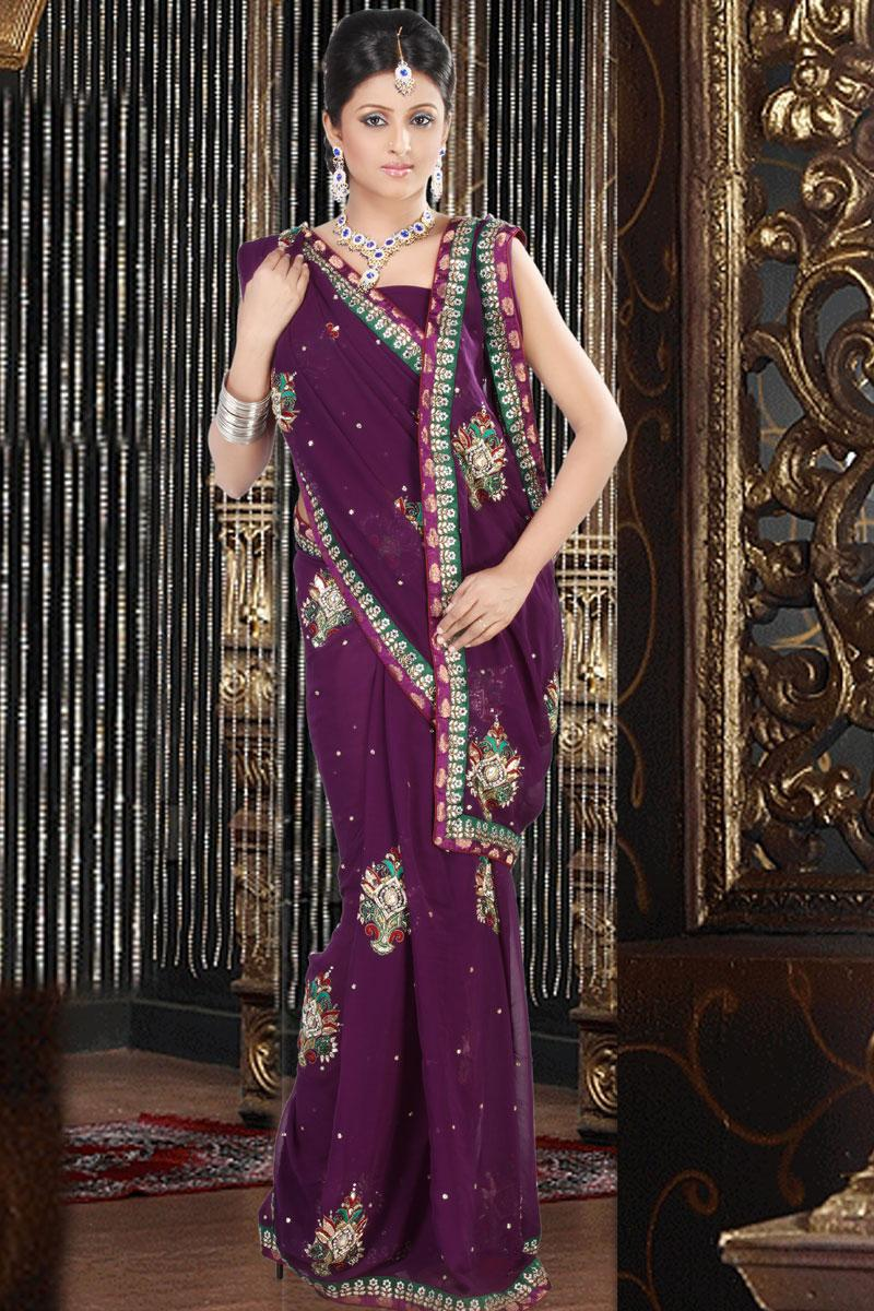 Magenta Faux Georgette Wedding and Festival Embroidered Saree   359.00