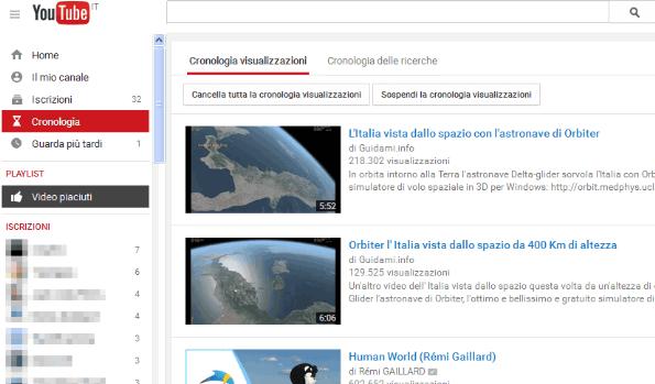 Cronologia visualizzazioni YouTube
