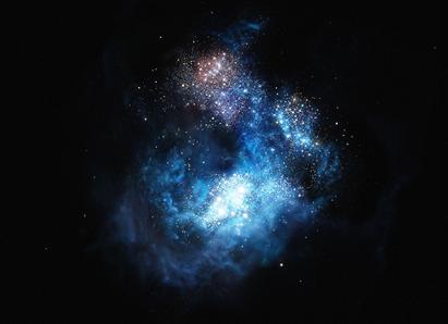 ilustração da galáxia mais brilhante do Universo primordial