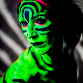 Zebra pattern look pose by Rob Casey - People Body Art/Tattoos ( b/w, girl, topless, color, black and white, naked, woman, highlighter, zebra, glow, body paint )