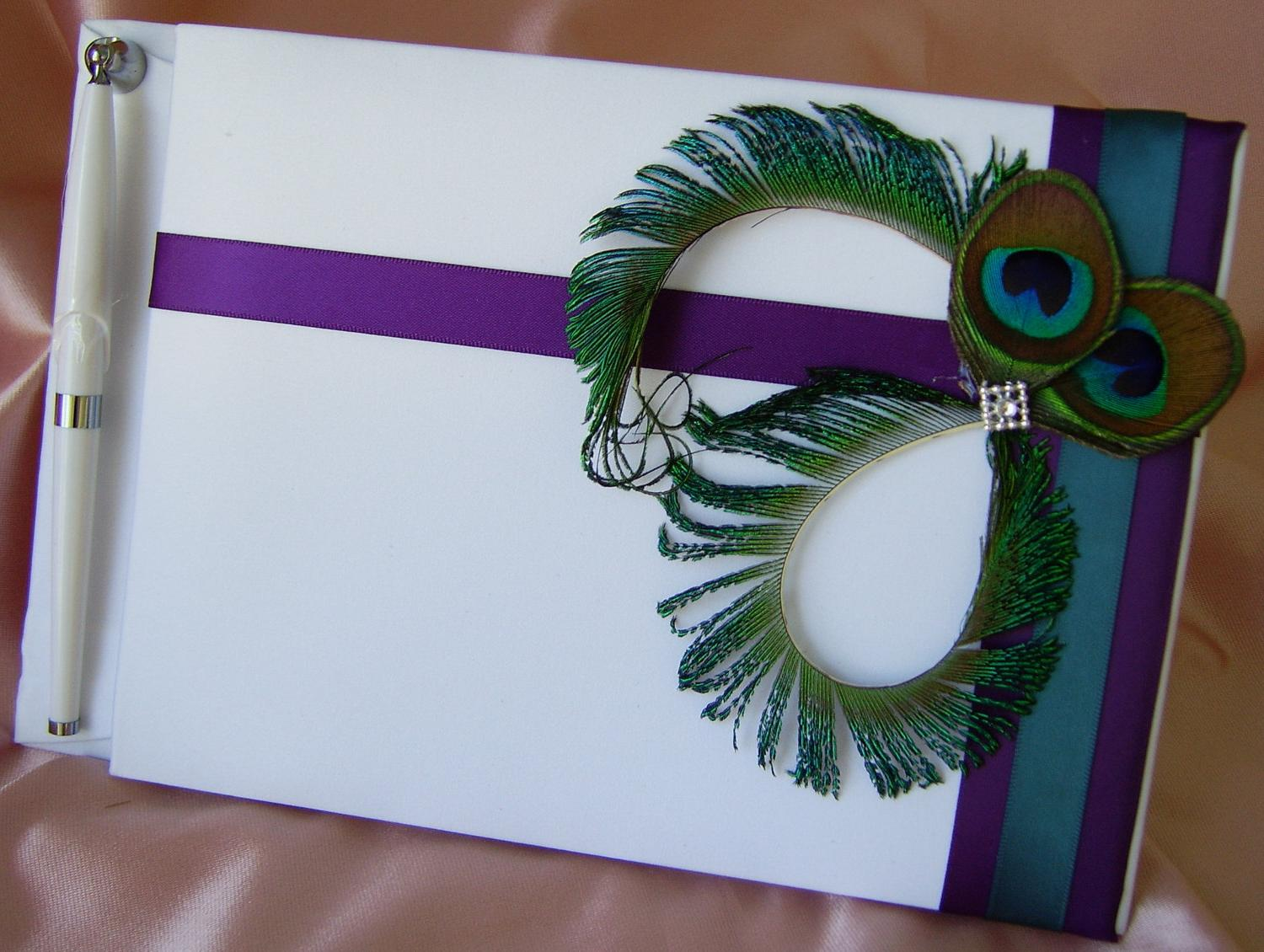 Peacock Feather Wedding Guest Book and pen, Deep purple and teal wedding