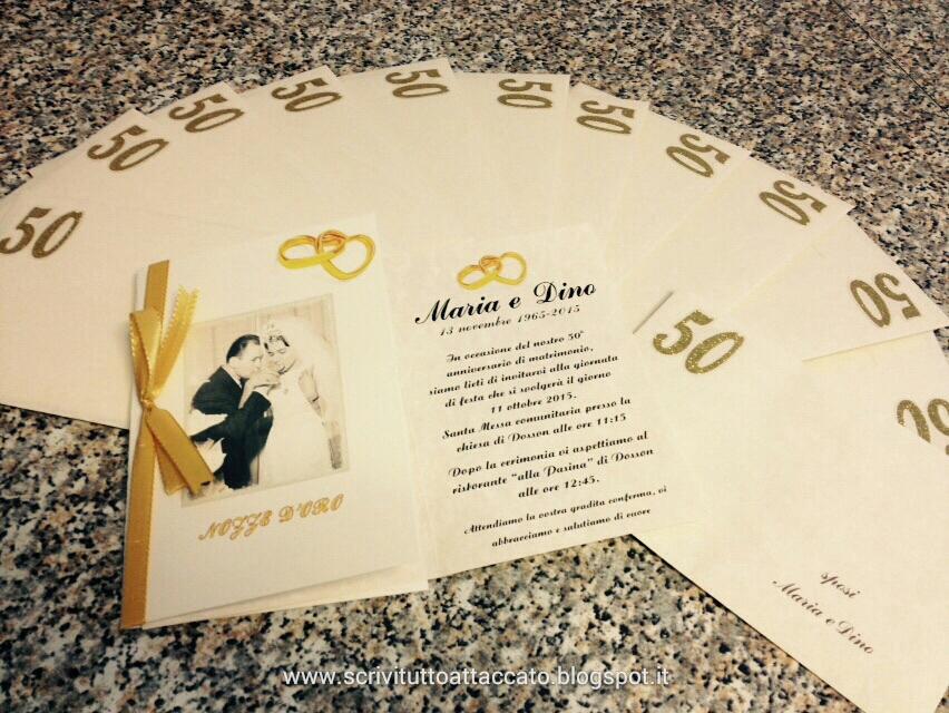 Favoloso SCRIVITUTTOATTACCATO: 50° anni di nozze - Inviti per anniversario  DU52