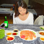 dining on some fresh salmon sashimi from Norway in Seoul, Seoul Special City, South Korea