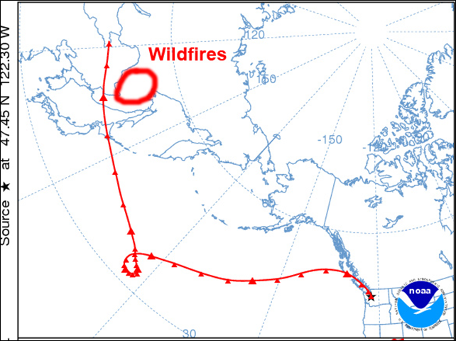Trajectory of smoke from wildfires in Siberia as it travels over the central Pacific ocean to U.S. Pacific Northwest in April 2015. Graphic: NOAA