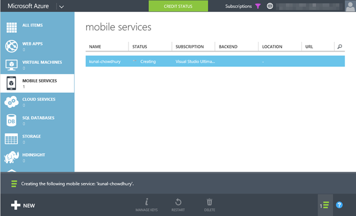 5. Windows Azure - Mobile Service - Creation in-progress (www.kunal-chowdhury.com)