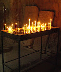 Candles paid for and lit by visitors, Khor Virap Monastery, Armenia.