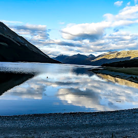 Mavora Lakes by Perla Tortosa - Landscapes Travel ( clouds, reflection, lake, travel, new zealand )