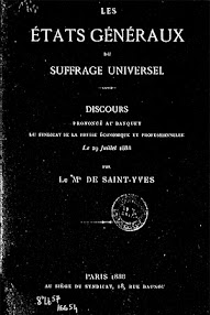 Cover of Saint Yves D'Alveydre's Book Les Etats Generaux du Suffrage Universel (1888,in French)