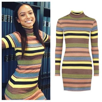 Karrueche Tran Instagram in Topshop 70s Stripe Mock Roll Neck Tunic Dress