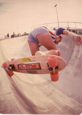 Girl skater legend Cindy Whitehead/Logan yes she shares the same last name giving doing a backside off the top at Skateboard World in Torrance, Those South bay chicks know how to skate!...........
