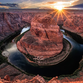Sunset at Horseshoe Bend by Tom Charoensinphon - Landscapes Sunsets & Sunrises ( water, u, sunset, arizona, canyon, rock, landscape, horseshoe )