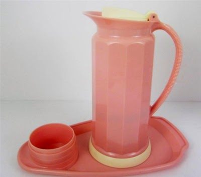 Model 1239 pink Thermos carafe with a cup tray specifically for Lily brand cup tray set
