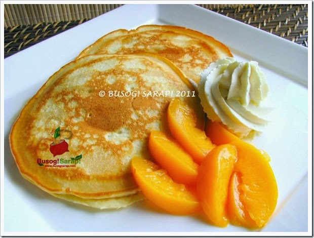 PANCAKE DRIZZLED WITH SYRUP WITH WHIPPED VANILLA CREAM & PEACHES © BUSOG! SARAP! 2011