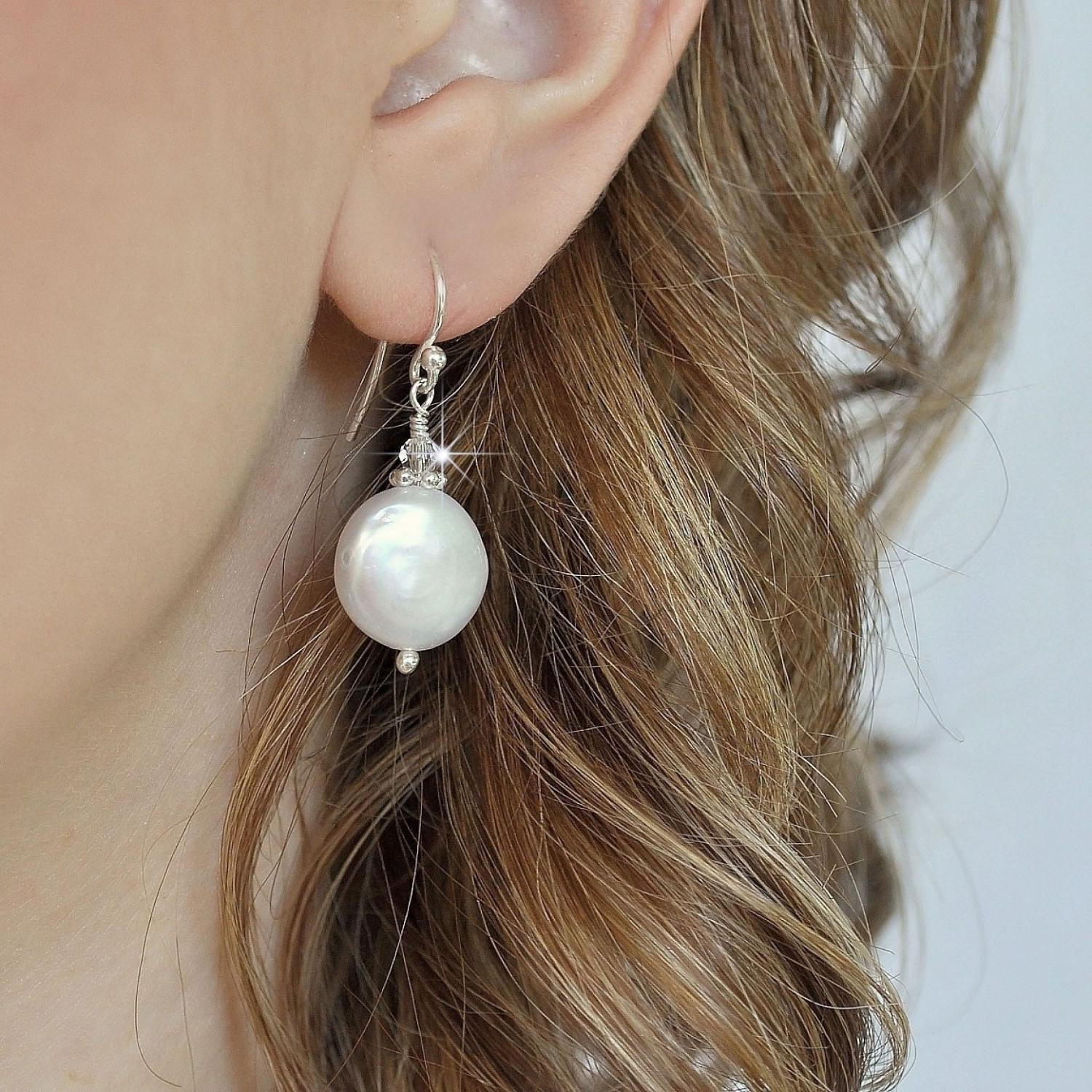 Freshwater Pearl Earrings, Bridal Pearl Drop Earrings, Beach Wedding Jewelry